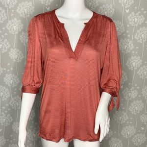 Lucky Brand Blouse Size Medium Coral Striped